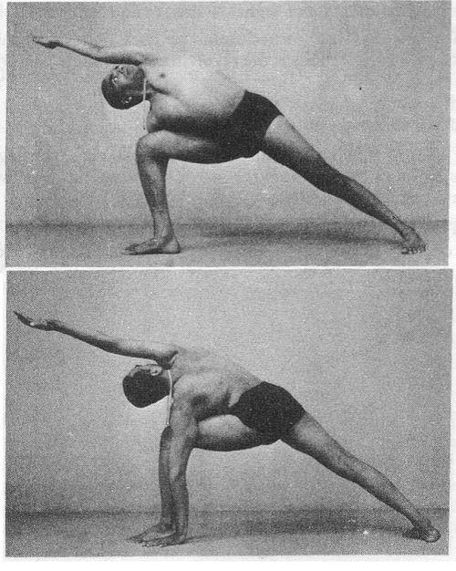 Iyengar practicando la Utthita Parsvakonasana