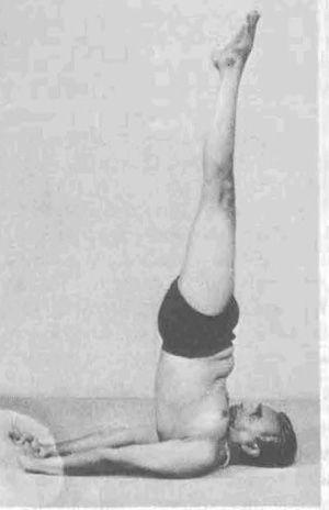 Iyengar haciendo la postura de salaba sarvangasana