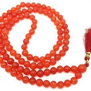 Cornalina Japa Mala 108 cuentas cada 8 mm de ancho, más 1 más grande del grano gurú, 33 pulgadas de largo, con las piedras preciosas reales, para su uso en la meditación o como un collar