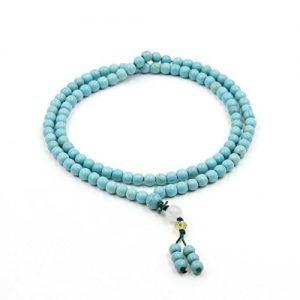 Ovalbuy 6 mm 108 cuentas de Howlita Turquoisite rosario Mala de oración budista