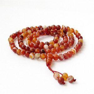 Ovalbuy 6mm ágata cuentas rosario cuentas 108cuentas de oración meditación Japa Mala
