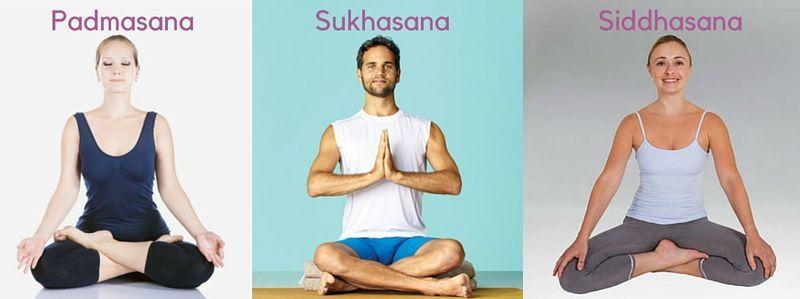 Comparación de la Sukhasana y las posturas relacionadas Siddhasana y Padmasana